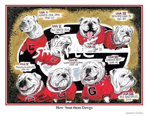 2011 Dave Helwig 'How 'Bout them Dawgs' UGA Lineage Art