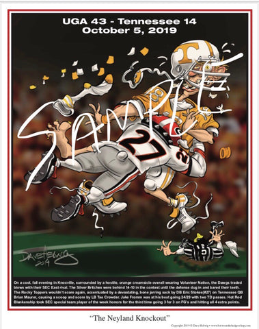 "2019 Dave Helwig ""The Knockout in Neyland"" Georgia Bulldogs Artwork"