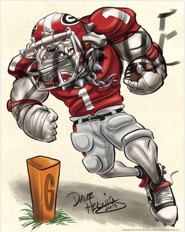 "2019 Dave Helwig ""Tailback U"" Georgia Bulldogs Artwork"
