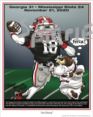 "2020 Game Dave Helwig ""Air Dawg"" Georgia Bulldawg Print Art"