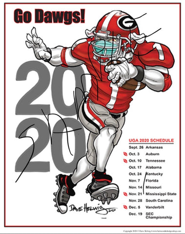 "2020 Games Dave Helwig ""2020 Red Jersey"" Schedule Georgia Bulldawg Print Art"