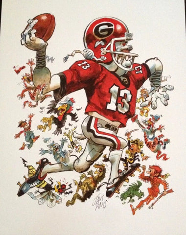 2013 Jack Davis Georgia Bulldogs Football Print