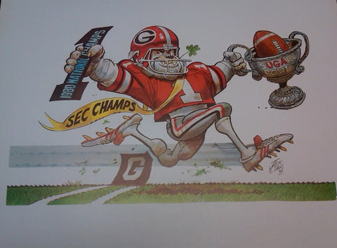 1981 National Champs Jack Davis Georgia Bulldog print