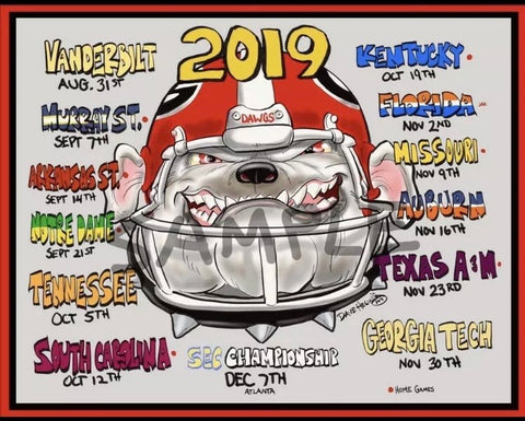 2019 Dave Helwig Schedule Print Georgia Bulldogs Artwork