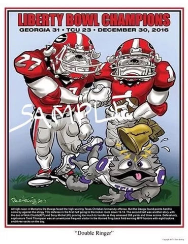 2016 Dave Helwig 'Double Ringer' Nick Chubb & Sony Michel Print Art