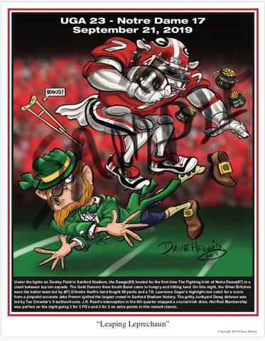 "2019 Dave Helwig ""Leaping Leprechaun"" Georgia Bulldogs Artwork"
