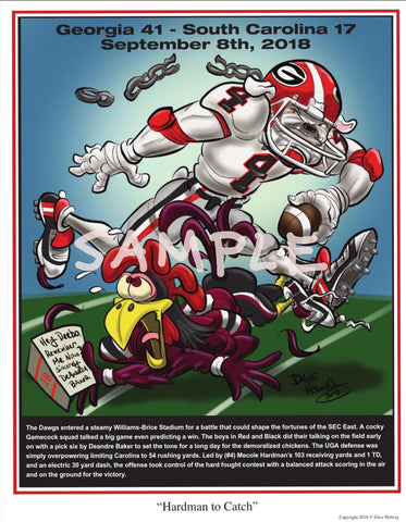 "2018 Dave Helwig ""Hardman to Catch"" Georgia Bulldogs v SC Artwork"