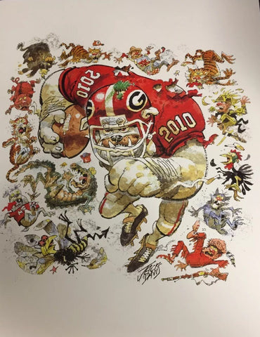 2010 Jack Davis Georgia Bulldogs Football Print