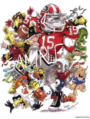 2015 Dave Helwig Georgia Football Schedule Print Art