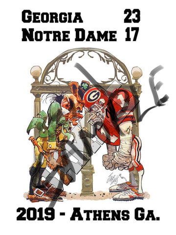 Jack Davis Georgia Bulldogs Football Print vs. Notre Dame