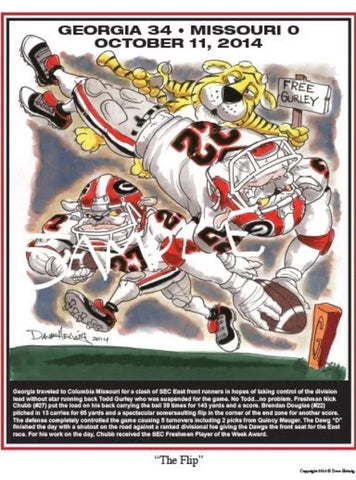 2014 Dave Helwig 'The Flip' Nick Chubb Print Art