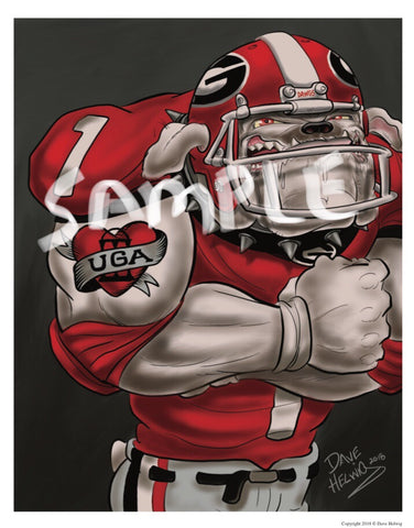 "2018 Dave Helwig ""Feel the Love"" Georgia Bulldogs Artwork"