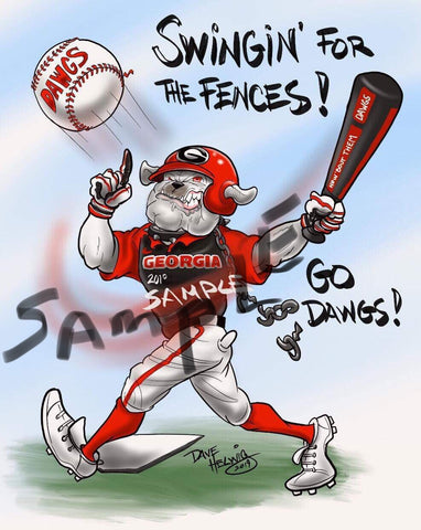 "2019 Dave Helwig ""Swingin' for the Fences!"" Georgia Bulldogs Artwork"