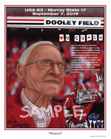 "2019 Dave Helwig ""Honored"" Vince Dooley Georgia Bulldogs Artwork"