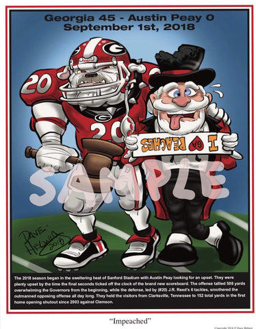 "2018 Dave Helwig ""Impeached"" Georgia Bulldogs v Austin Peay Artwork"