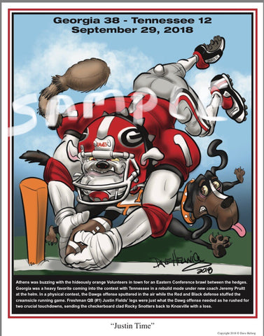 "2018 Dave Helwig ""Justin Time"" Georgia Bulldogs v Tennessee Artwork"