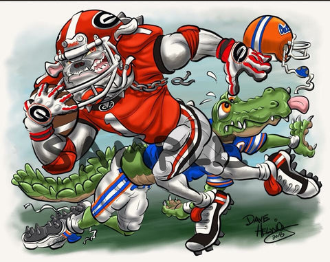 "2018 Dave Helwig ""St. Johns Scramble"" Georgia Bulldogs Artwork"