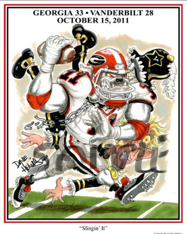 2011 Dave Helwig 'Slingin It' Aaron Murray Print Art