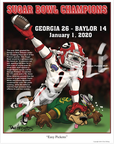 "2019 Dave Helwig ""Easy Pickens"" Georgia Bulldogs Artwork"