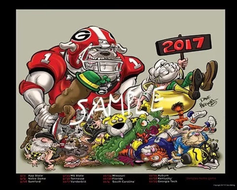 2017 Games Dave Helwig Limited Edition Football Schedule Art