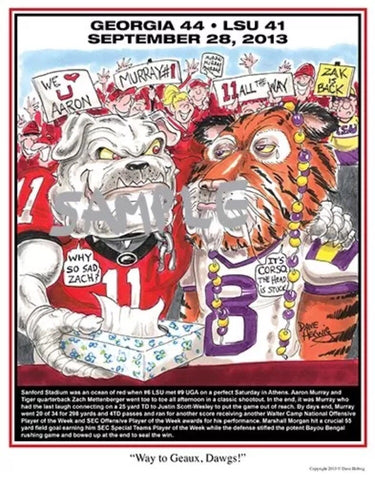 2013 Dave Helwig 'Way to Geaux Dawgs' Aaron Murray Print Art