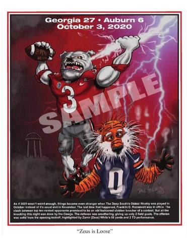 "2020 Dave Helwig ""Zeus is Loose"" Georgia Bulldawg Print Art"