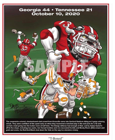 "2020 Game Dave Helwig ""T-Boned"" Georgia Bulldawg Print Art"