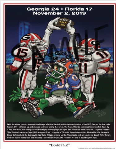 "2019 Dave Helwig ""Doubt This!"" Georgia Bulldogs vs. Florida Artwork"