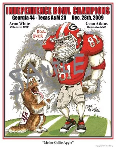 2009 Dave Helwig 'Melan-Collie Aggie' Independence Bowl Champs Print Art