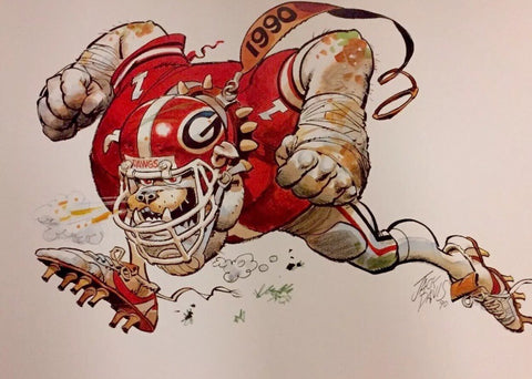 1990 Jack Davis Georgia Bulldogs Football print
