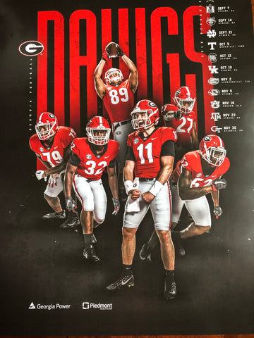 2019 Football Team Black Team Schedule Poster