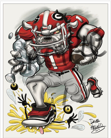 "2019 Dave Helwig ""Wreckin' the Tech"" Georgia Bulldogs Artwork"