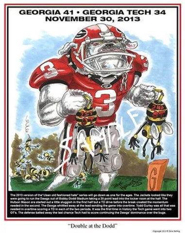 2013 Dave Helwig 'Double at the Dodd' Todd Gurley Print Art