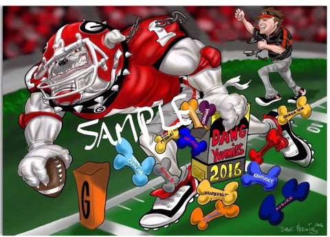 2016 Dave Helwig Football Limited Edition Kirby Smart Schedule Art