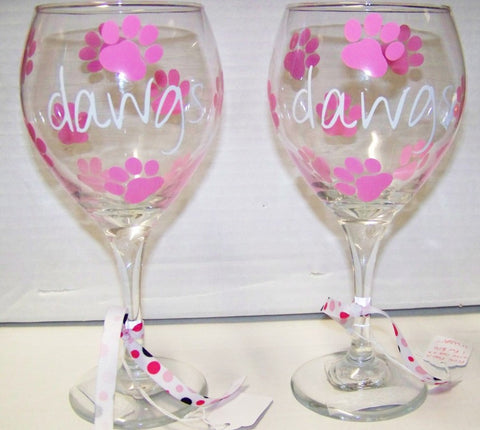 Georgia Bulldogs Football Wine Glasses (Set of 2) 'Dawgs with Pink Paws'