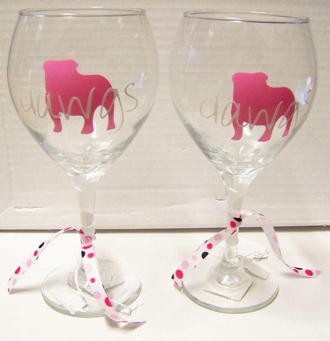 Georgia Bulldogs Football Wine Glasses (Set of 2) 'Pink Dawgs silhouette'