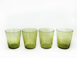 mid century cocktail glasses green image