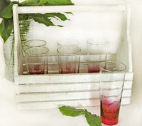 Cranberry Glass Set Mid Century | Vintage set of 6 Highball Cranberry Glasses