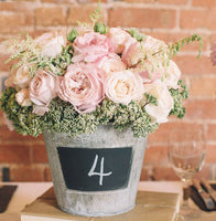 blackboard bucket wedding centerpiece