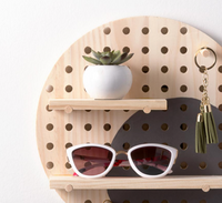 wood peg board shelf image