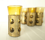 Hand Blown Caged Glass with Brass Sleeves by Felipe Derflingher