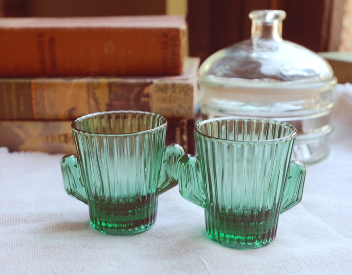Vintage Cactus Shot Glasses | Southwestern Glasses, Green | Libbey Glasses Green Cactus