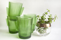 vintage green cactus glasses from Libbey at the Tiny house farm