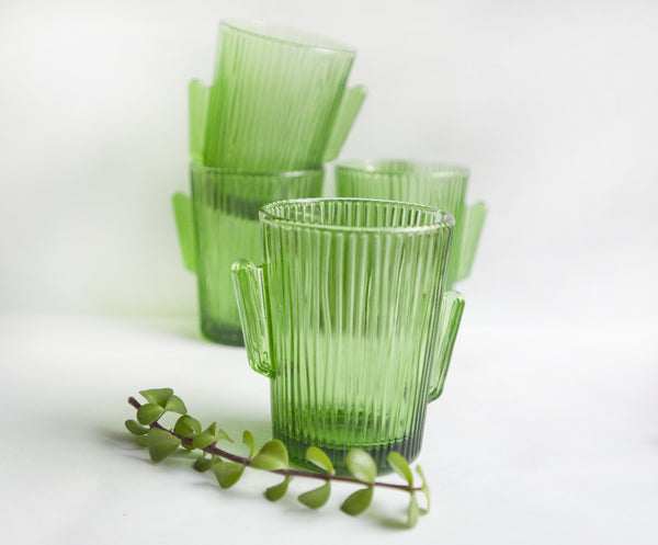 vintage green cactus glasses from the Tiny house farm