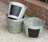 Galvanized Buckets with Chalkboard Inset | Set of 5