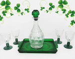 Vintage Barware Set | Avon Emerald Green Decanter Set, 6 pieces