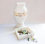 Vintage White Milk Glass Vase with Gold Leaf Greek Key seen on HGTV