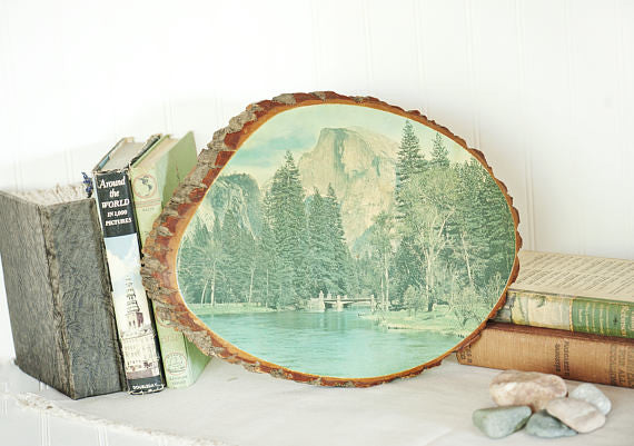 Yosemite Vintage Souvenir | Half Dome Vintage Photo | Vintage Yosemite Print Decoupaged Tree Slice