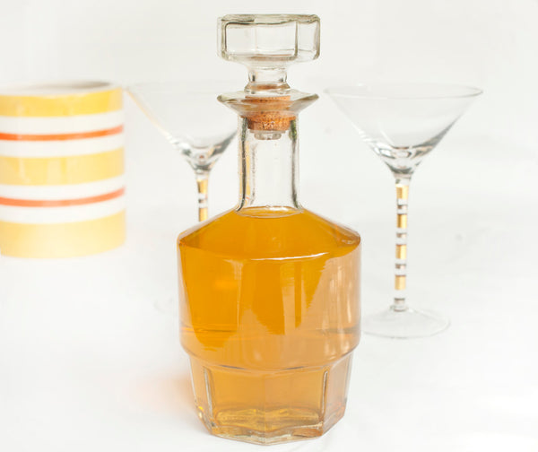 Vintage Bar Decanter | Mid Century Glass Decanter for Bar Cart