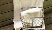 Rustic Medium Chicken Wire Basket with a natural colored cotton liner